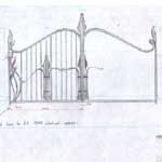 Forged steel Art Nouveau gate drawing