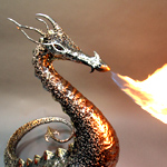 A fire breathing bronze and stainless steel dragon