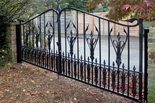 Iron gates wrought driveway