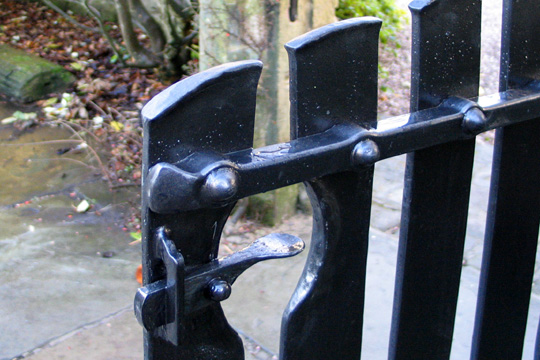 Contemporary forged steel garden gate
