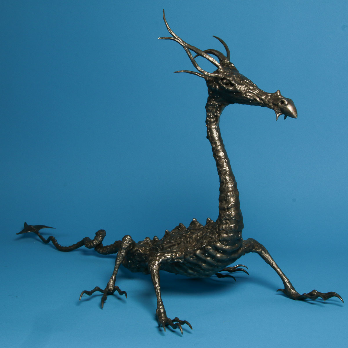 Forged and Welded Steel Dragon Sculpture