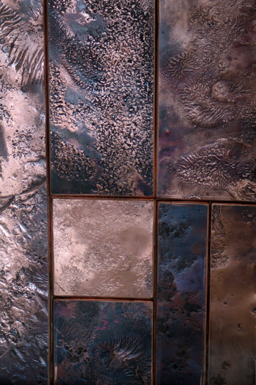 Copper Wall Covering : A contemporary textured copper wall sculpture