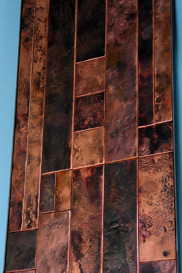 Copper Wall Panels : A contemporary textured copper wall sculpture
